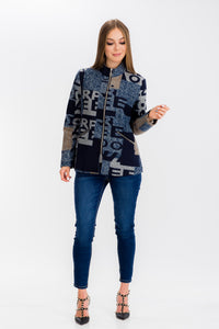 Womens Letter Print Short Jacket