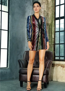 Striped Sequin Blazer Dress