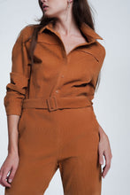 Load image into Gallery viewer, Cord Utility Jumpsuit in Camel