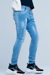 Blue Slashed Boyfriend Jeans