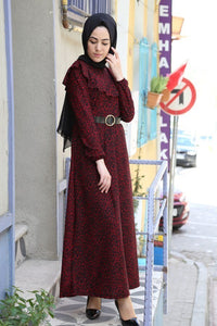 Women's Belted Patterned Claret Red Dress