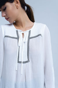 White Blouse With Embroidered Trims