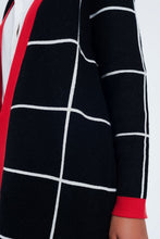 Load image into Gallery viewer, Black Striped Cardigan With Red Details