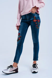 Skinny Jeans With Flowers