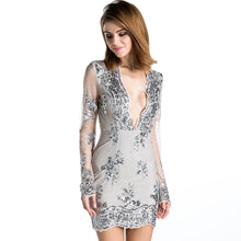 Load image into Gallery viewer, Natural Plunge Sequin Dress