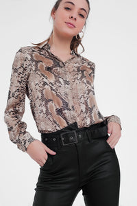 Beige Shirt With Snake Print
