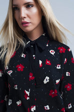 Load image into Gallery viewer, Black Shirt With Red and White Flowers