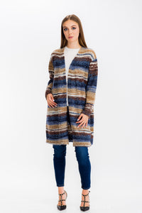 Womens Open Front Stripe Cardigan Multi