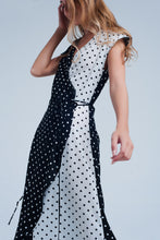 Load image into Gallery viewer, Black White Wrap Dress With Polka Dots