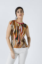 Load image into Gallery viewer, Print Cap Sleeve Top With Trim Detail