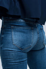 Load image into Gallery viewer, Blue Skinny Jean With Embroideries