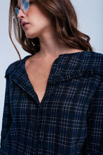 Load image into Gallery viewer, Navy Checked Shirt With Ruffle