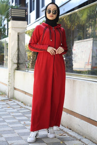 Women's Zipped Red Long Dress