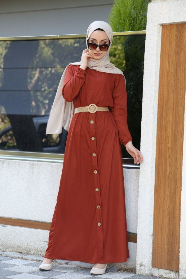 Women's Straw Belted Ginger Dress
