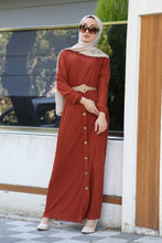Load image into Gallery viewer, Women's Straw Belted Ginger Dress