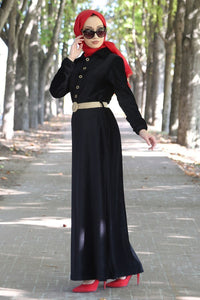 Women's Straw Belted Black Velvet Long Dress