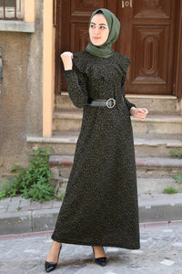 Women's Belted Patterned Dress