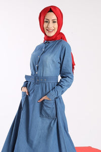 Women's Belted Denim Dress