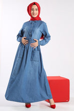 Load image into Gallery viewer, Women's Belted Denim Dress