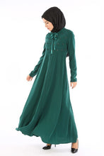 Load image into Gallery viewer, Women's Zipped Emerald Green Modest Full Dress