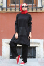 Load image into Gallery viewer, Women's Black Tricot Tunic Pants Set