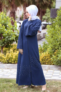 Women's Flare Sleeves Pearled Navy Blue Dress