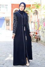 Load image into Gallery viewer, Women's Gem Stripe Detail Navy Blue Abaya