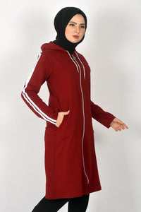 Women's Claret Red Modest Sweatshirt