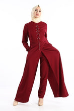Load image into Gallery viewer, Women's Eyelet Collar Claret Red Overall-like 2 Piece Set