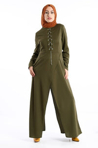 Women's Eyelet Collar Khaki Overall-like 2 Piece Set