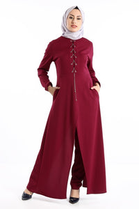 Women's Eyelet Collar Claret Red Overall-like 2 Piece Set