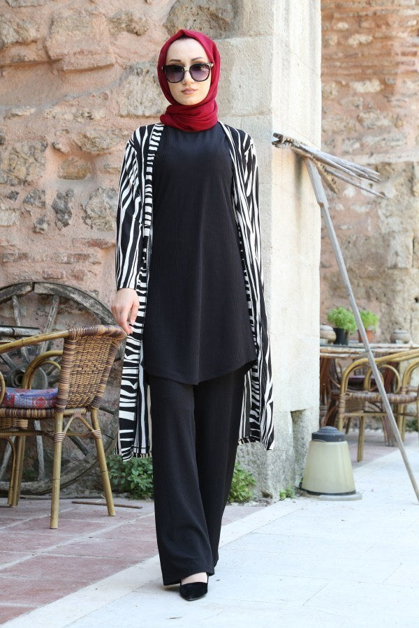 Women's Black Tunic Pants Cardigan Set