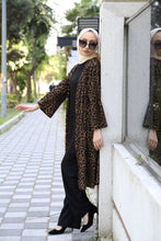Load image into Gallery viewer, Women's Patterned Cardigan Black Tunic Pants Set