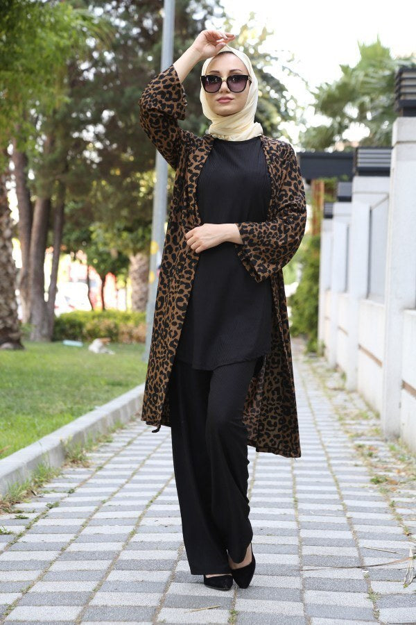 Women's Patterned Cardigan Black Tunic Pants Set