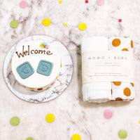 momo + bubs + double joy gift set + the patissier + double chocolate praline + baby shower gift + swaddles + organic cotton + muslin