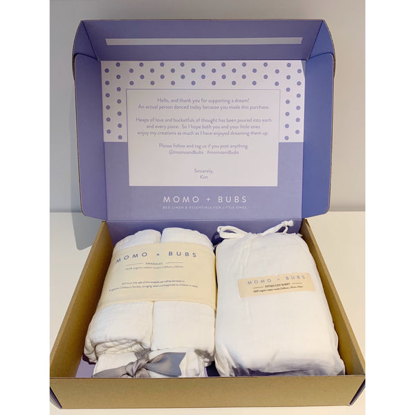 MOMO + BUBS + muslin swaddles + Singapore children's society + gift set + cot sheets + bibs