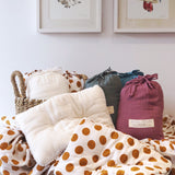 muslin pillow + everyday + mustard yellow polka dots + organic cotton + momo + bubs