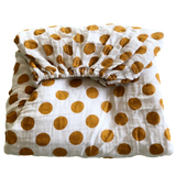 mustard yellow polka dots muslin fitted cot sheet + organic cotton + momo and bubs