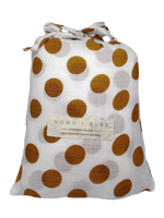 mustard yellow polka dots + pillow + everyday pillow + organic cotton + gots + MOMO + BUBS
