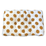 mustard yellow polka dots + pillow + everyday + muslin + organic cotton + momo + bubs