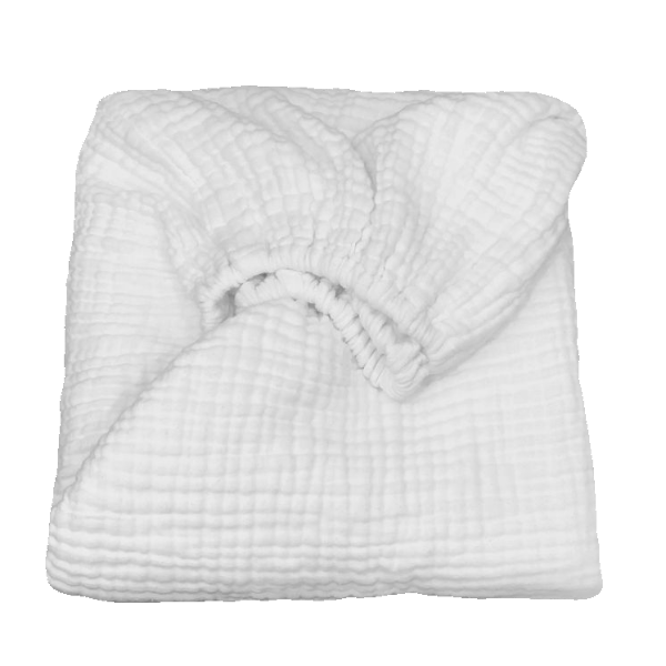 white muslin fitted cot sheet + organic cotton + momo and bubs
