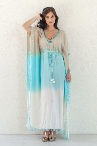 TOPAZ MAXI DRESS OMBRE AQUA SAND