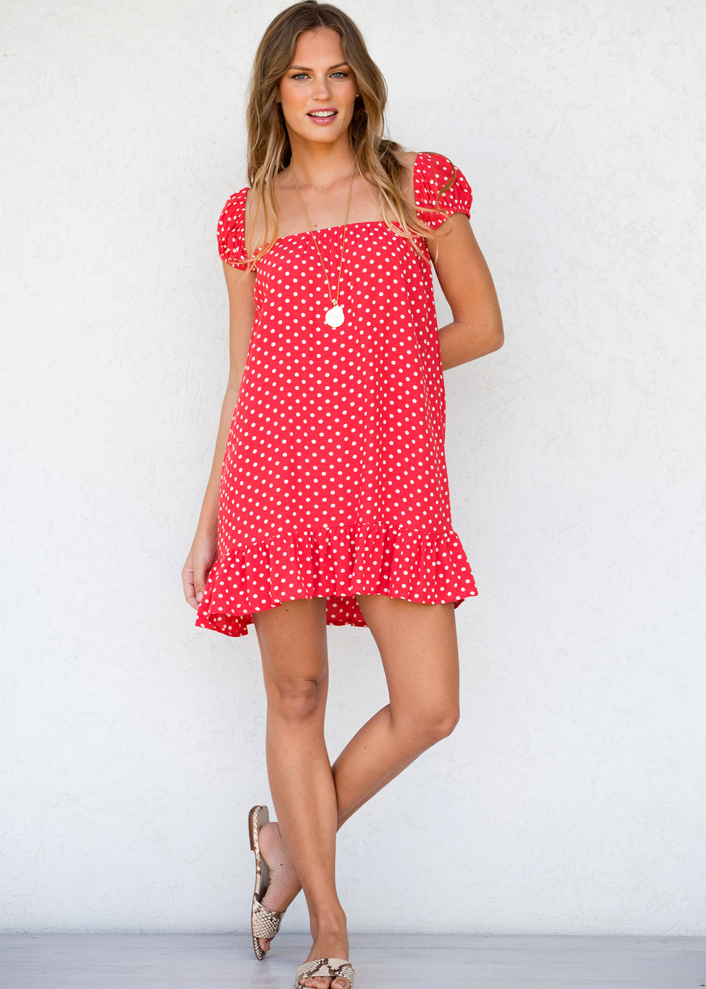 BELL DRESS POLKA DOT CALYPSO RED