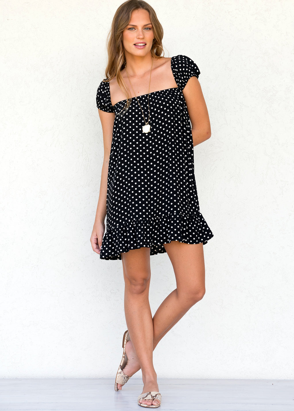 BELL DRESS POLKA DOT ONYX