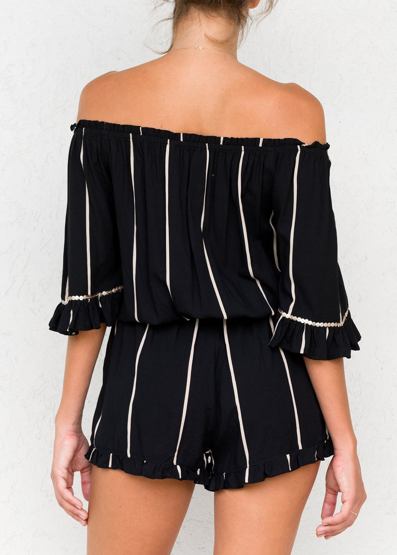 Ocean Stripe Black - Bridgette Romper