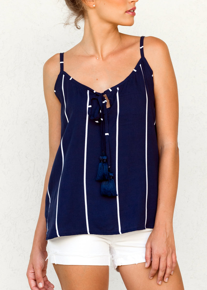 Ocean Stripe Indigo - Grace Tassle Top