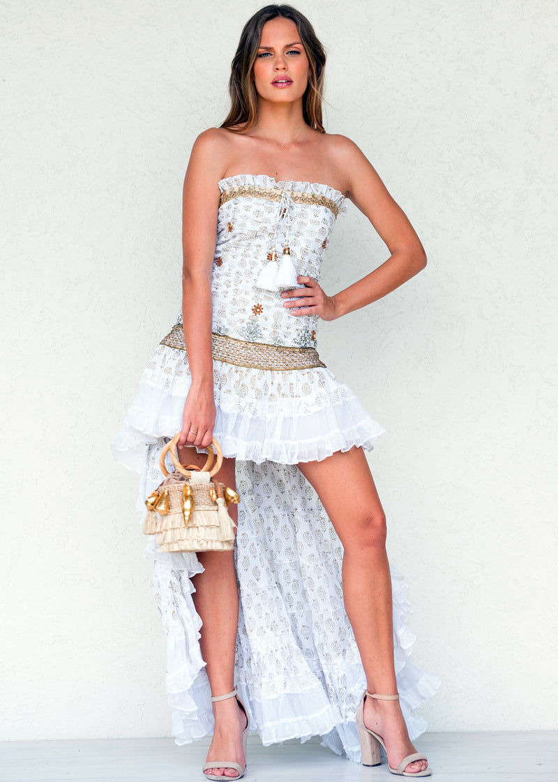White Crystal Bustier Frill Maxi