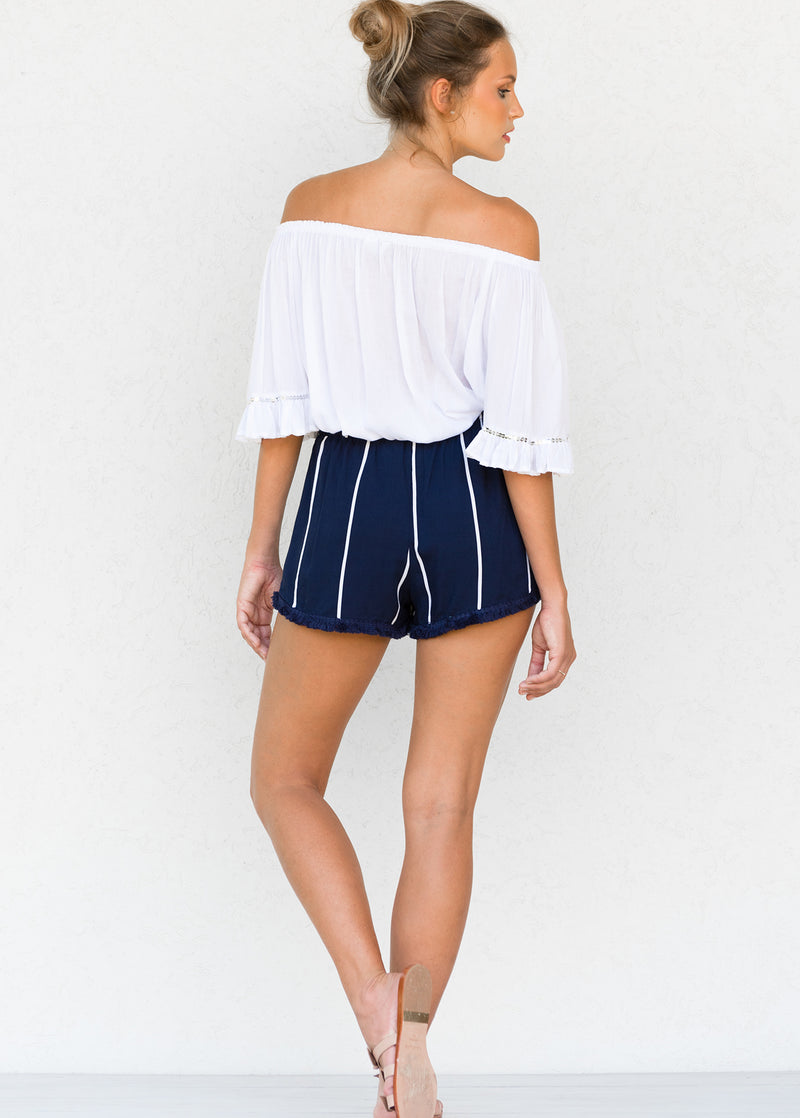 ROUGE SHORTS OCEAN STRIPE INDIGO