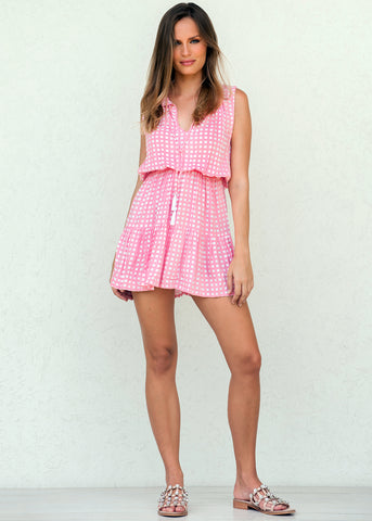 NANETTE TIERED DRESS PINK GINGHAM