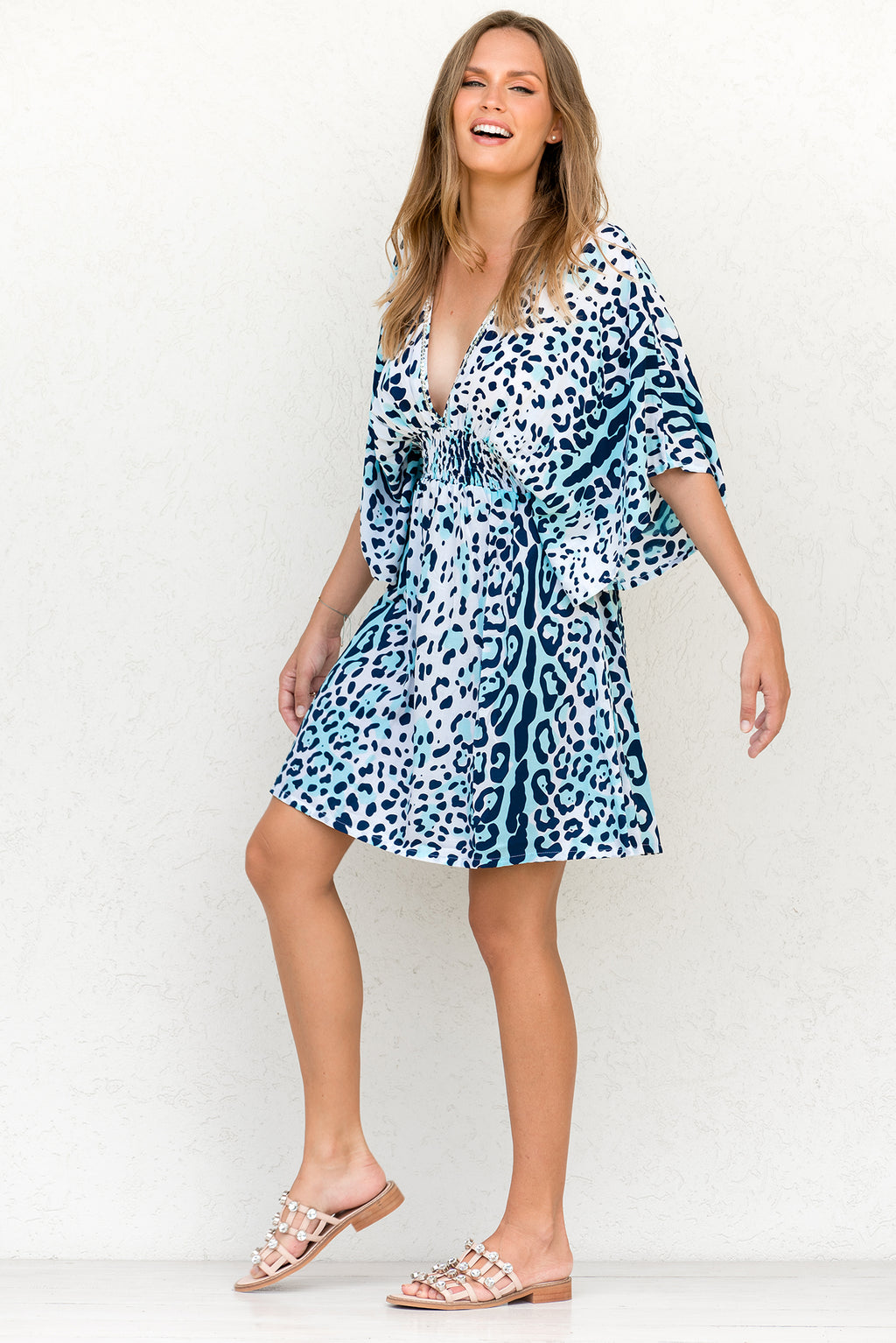 ZAHARA DRESS LEOPARD OCEAN